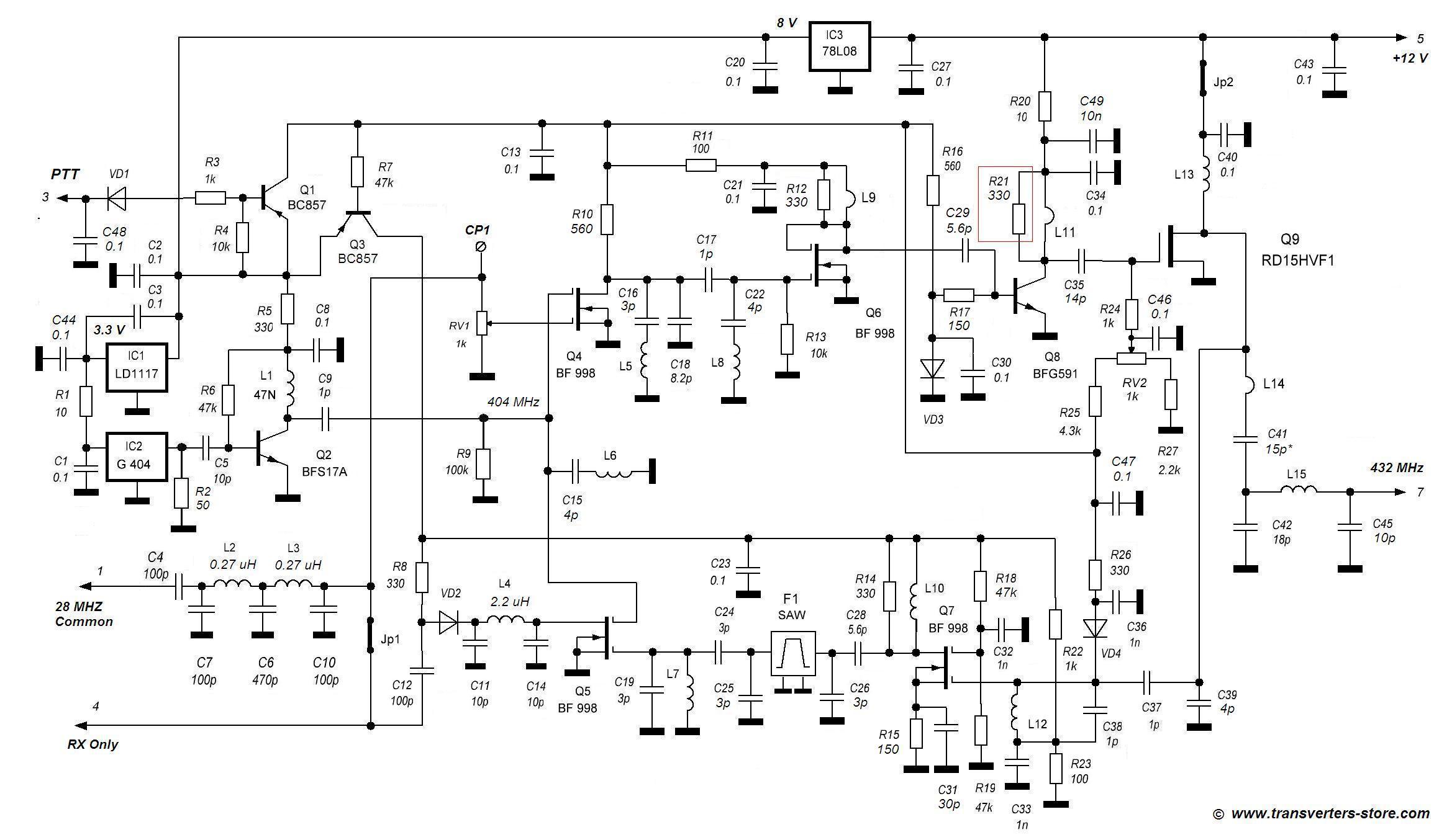 432  28 mhz transverter board